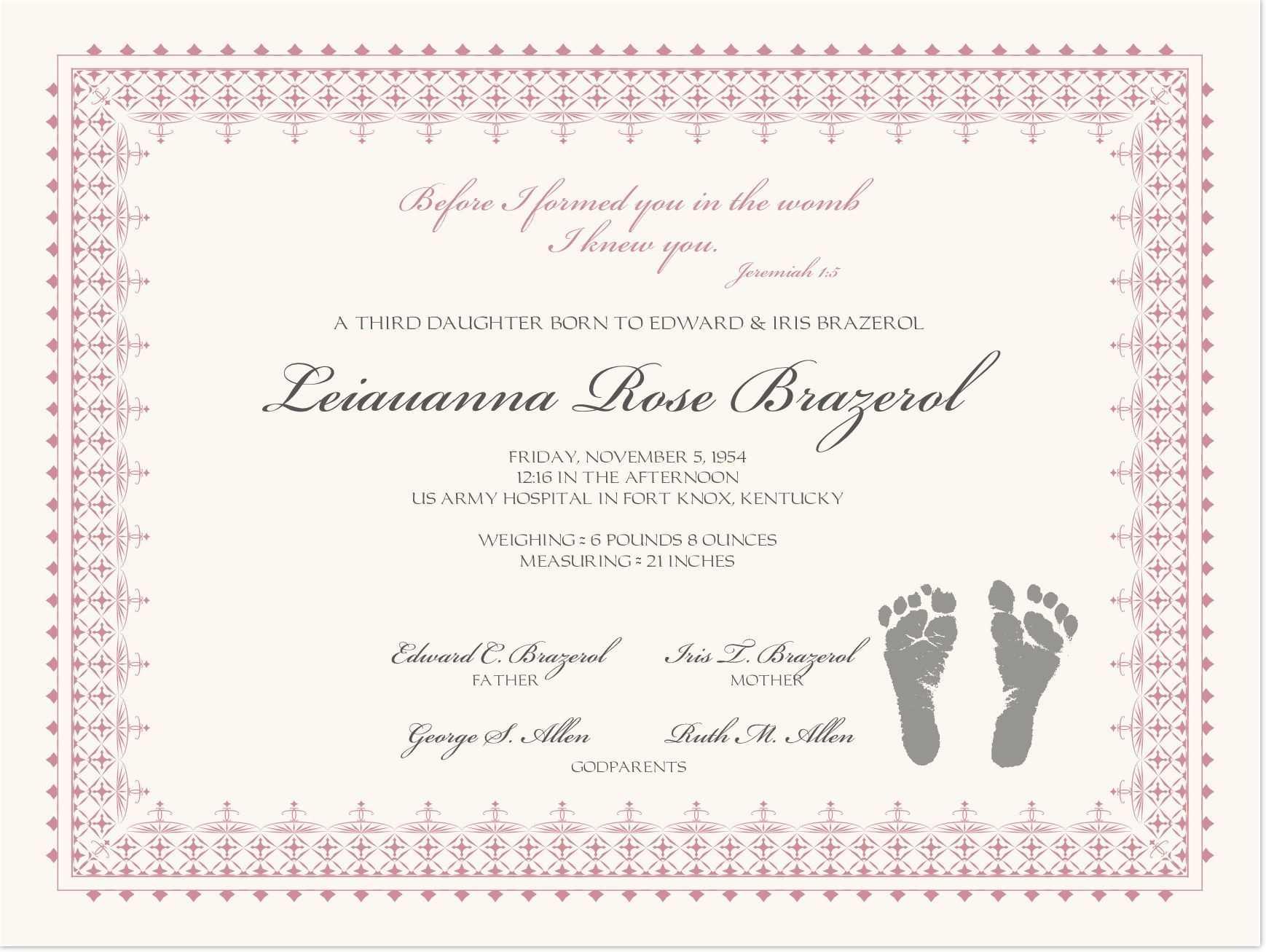 Footprints Baby Certificates | Baby Dedication Certificate For Baby Christening Certificate Template