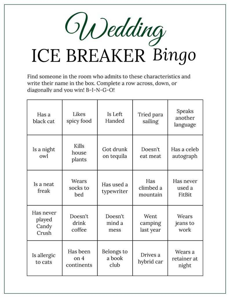 Forest Green Bridal Shower Wedding Ice Breaker Human Bingo Cards Printable  Get To Know You for Ice Breaker Bingo Card Template