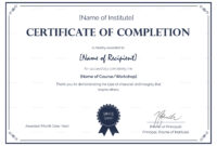 Formal Completion Certificate Template with Certification Of Completion Template