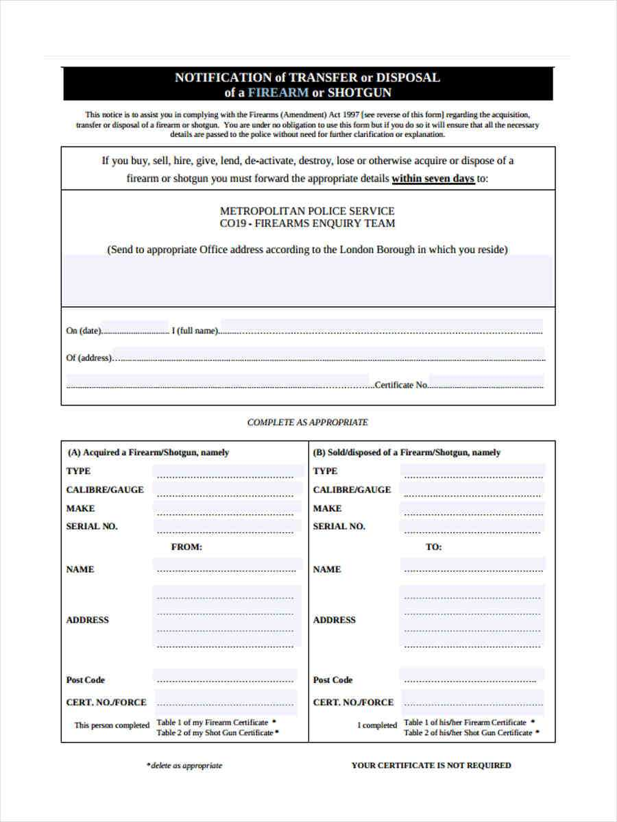 Free 5+ Notice Of Disposal Forms In Word | Pdf With Certificate Of Disposal Template