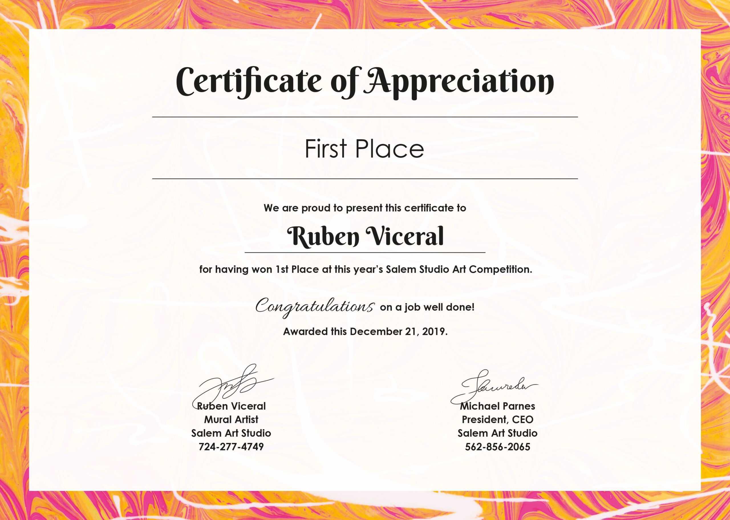 Free Appreciation Certificate | Certificate Of Appreciation for Free Art Certificate Templates