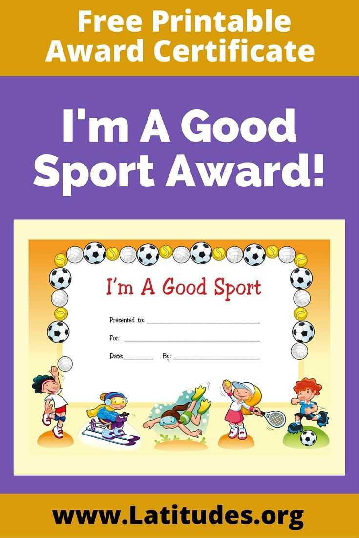 Free Award Certificate - I'm A Good Sport (Primary | Life With Regard To Sports Day Certificate Templates Free