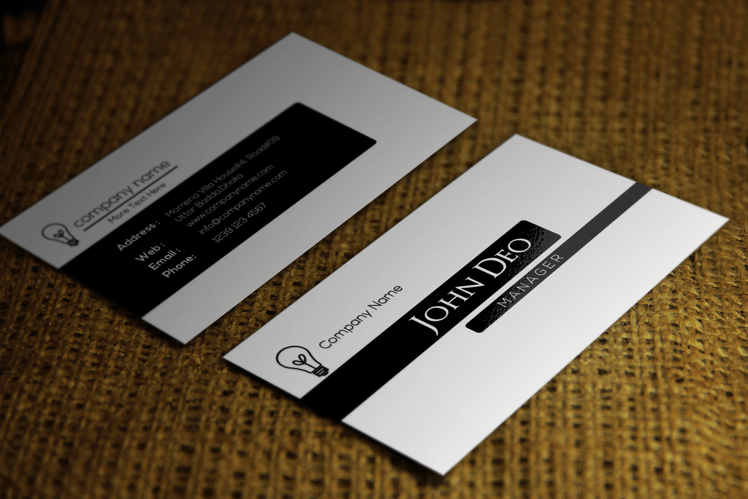 Free Black And White Business Card Template Intended For Call Card Templates