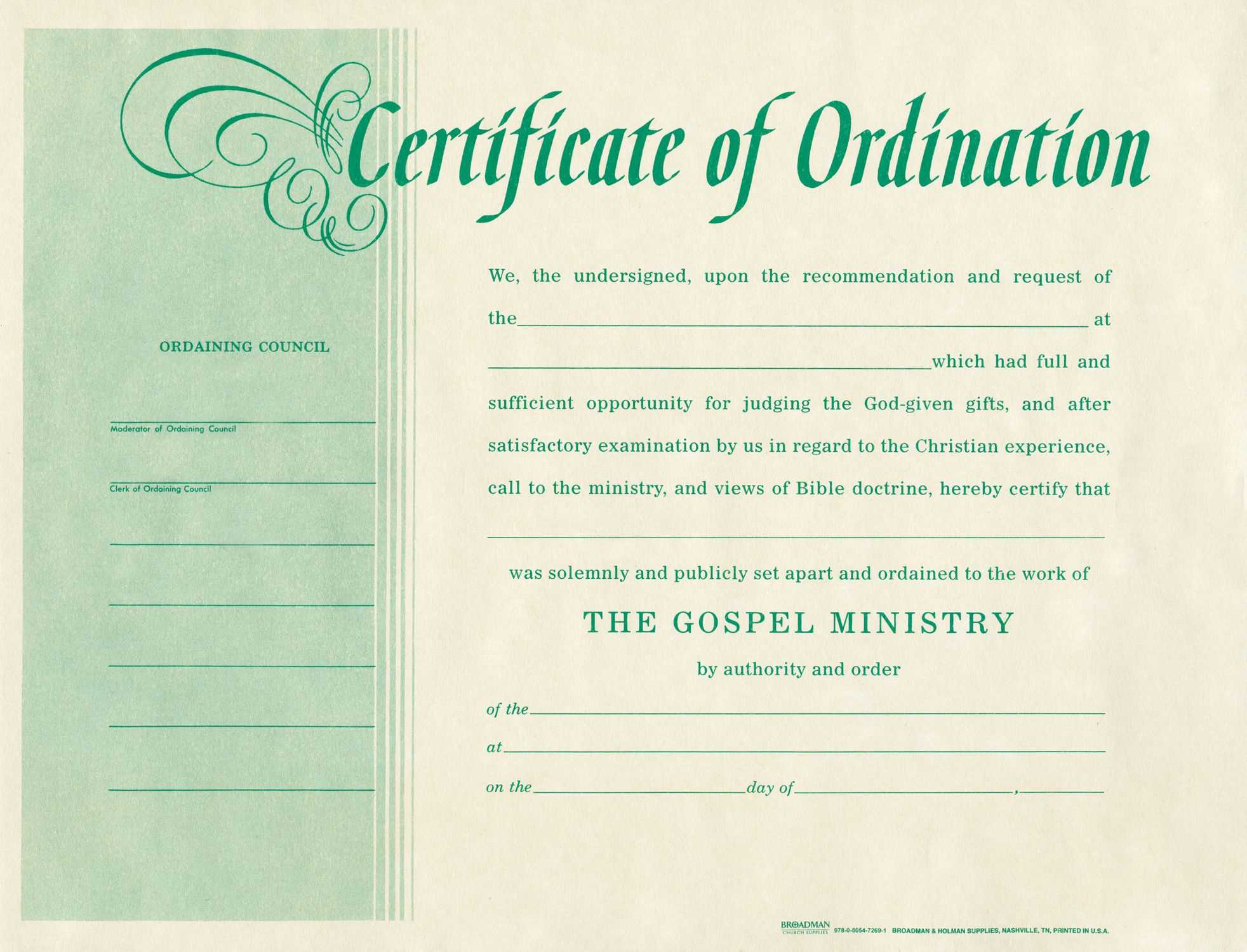 Free Blank Certificate Of Ordination | Ordination For With Ordination Certificate Templates