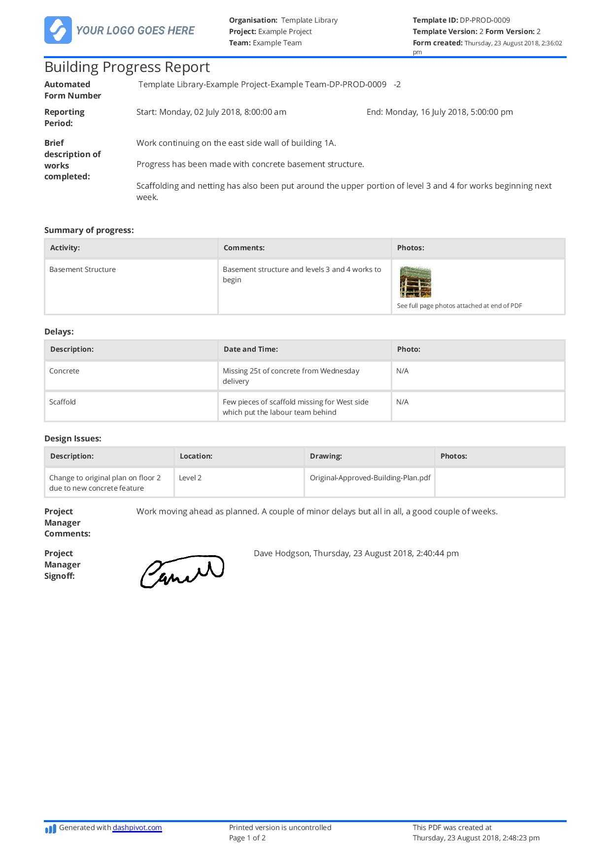 Free Building Construction Progress Report Sample (Customisable) Within Site Progress Report Template