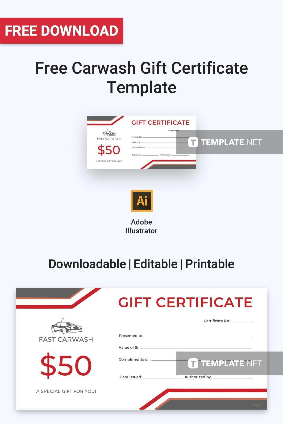Free Carwash Gift Certificate   Gift Certificate Template in Indesign Gift Certificate Template