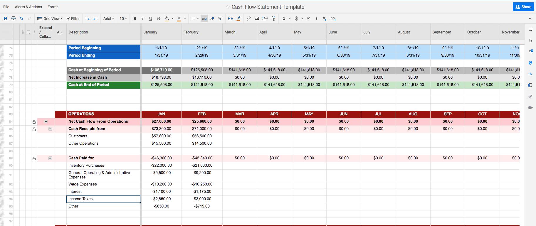 Free Cash Flow Statement Templates | Smartsheet Pertaining To Cash Position Report Template