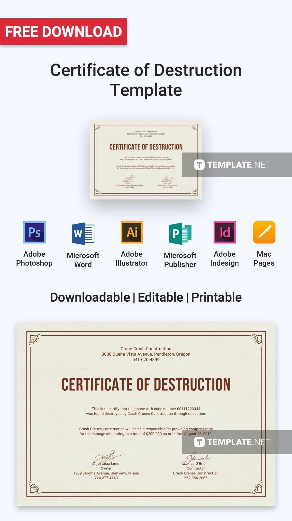 Free Certificate Of Destruction | Certificate Templates Throughout Free Certificate Of Destruction Template