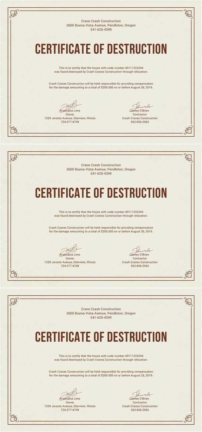 Free Certificate Of Destruction | Free Certificate Templates pertaining to Destruction Certificate Template