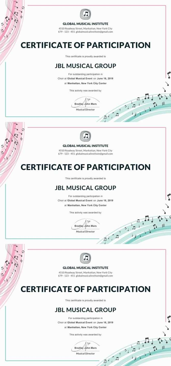 Free Choir Certificate Of Participation | Certificate Of pertaining to Choir Certificate Template