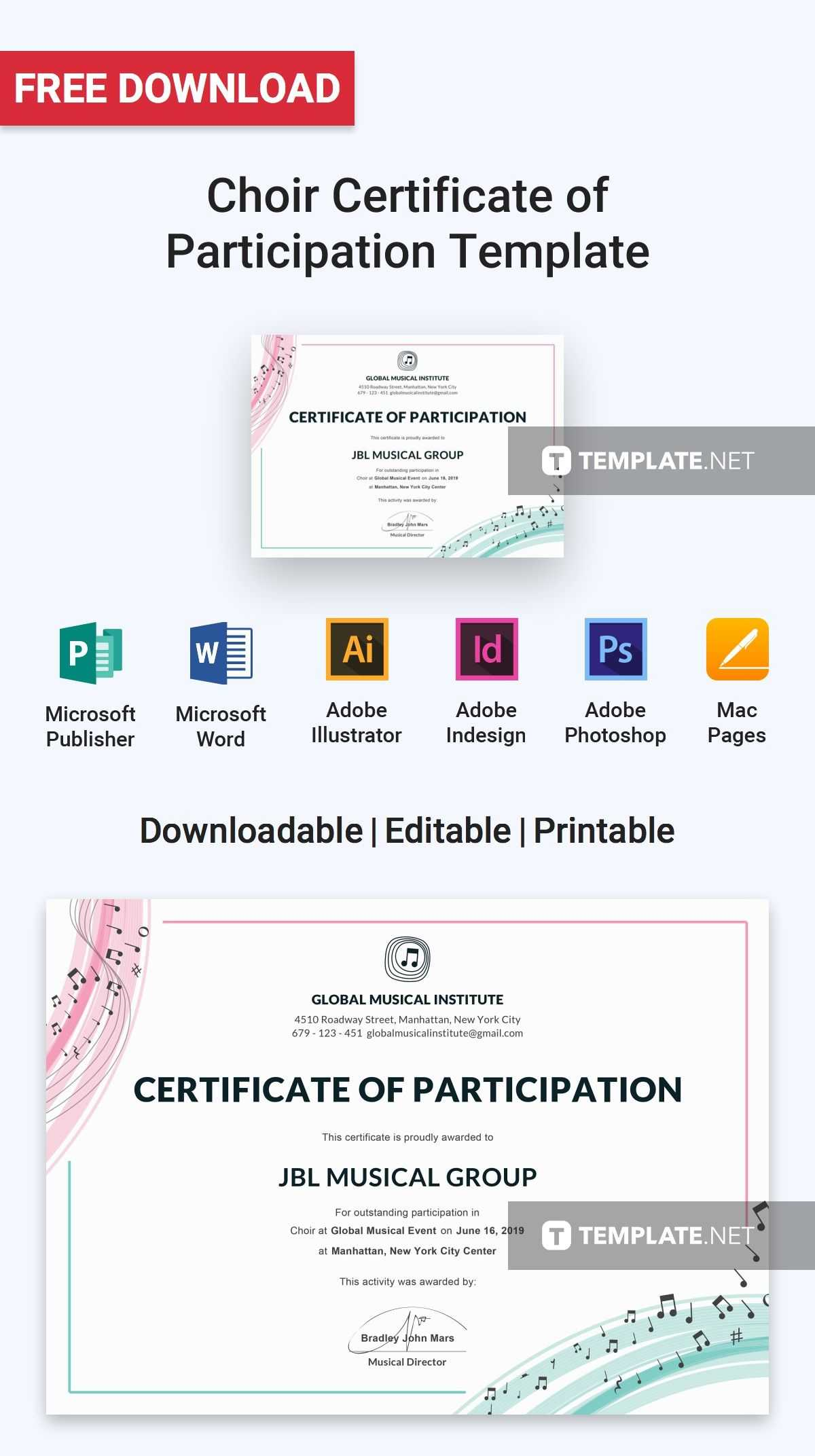 Free Choir Certificate Of Participation | Certificate regarding Choir Certificate Template