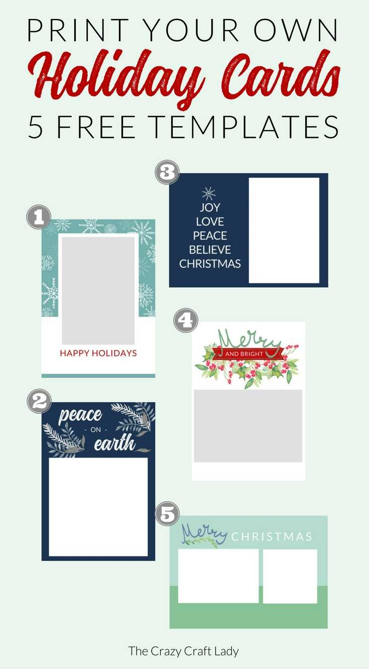 Free Christmas Card Templates - The Crazy Craft Lady Within Print Your Own Christmas Cards Templates