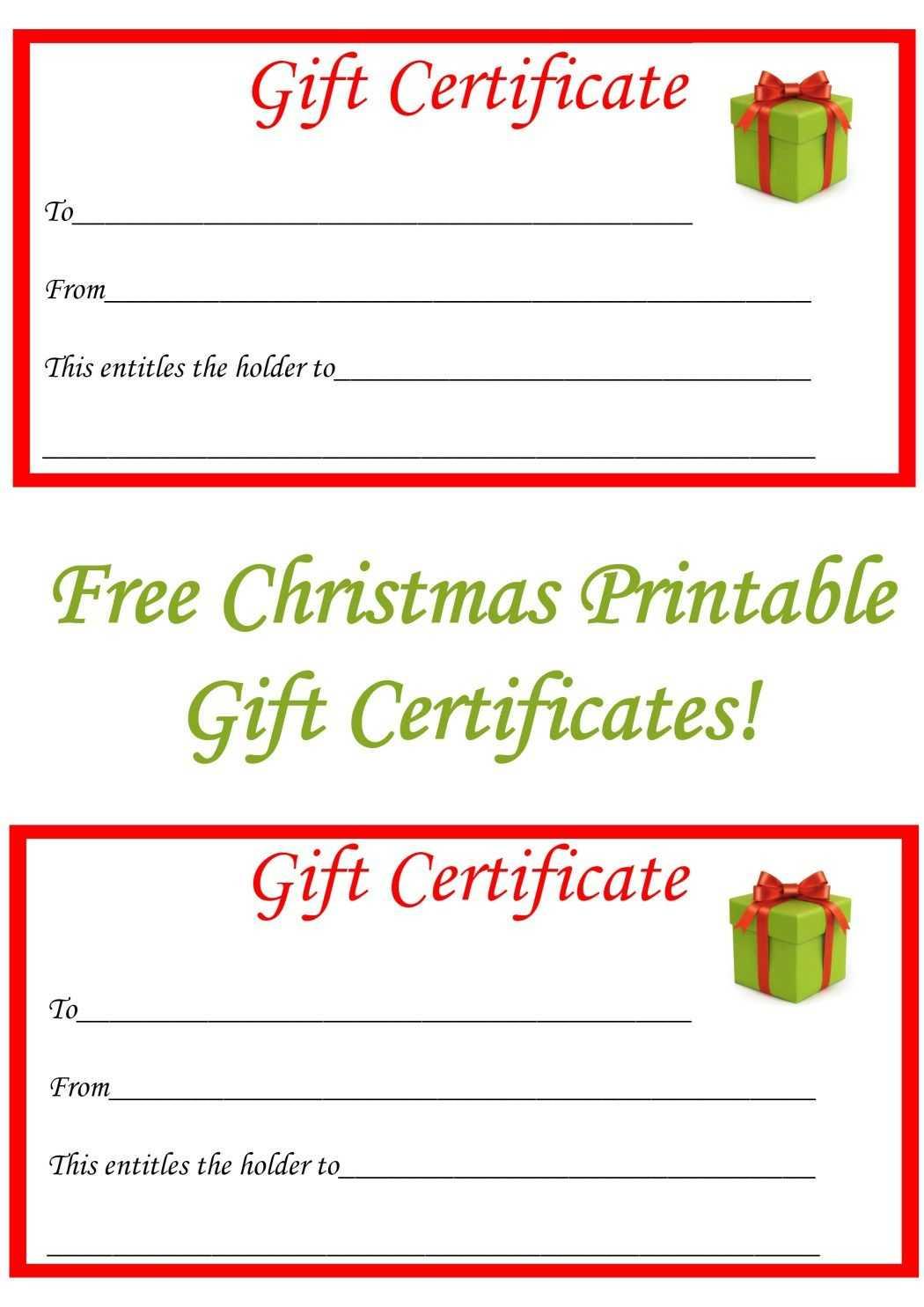 Free Christmas Printable Gift Certificates   Free Gift Throughout Free Christmas Gift Certificate Templates