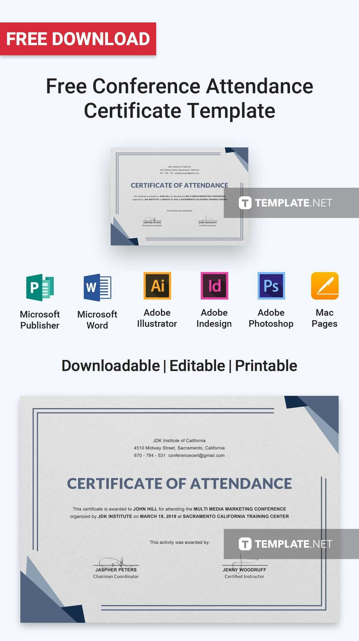 Free Conference Attendance Certificate | Attendance In Conference Certificate Of Attendance Template