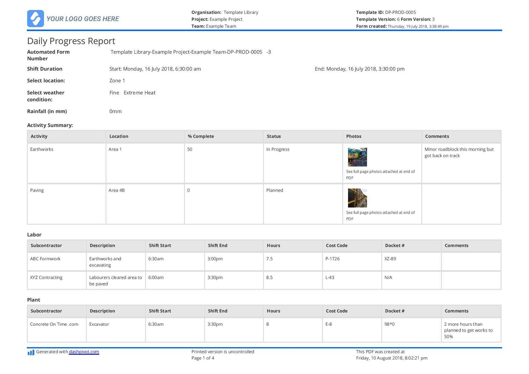 Free Construction Daily Report Template (Better Than Pdf intended for Engineering Progress Report Template