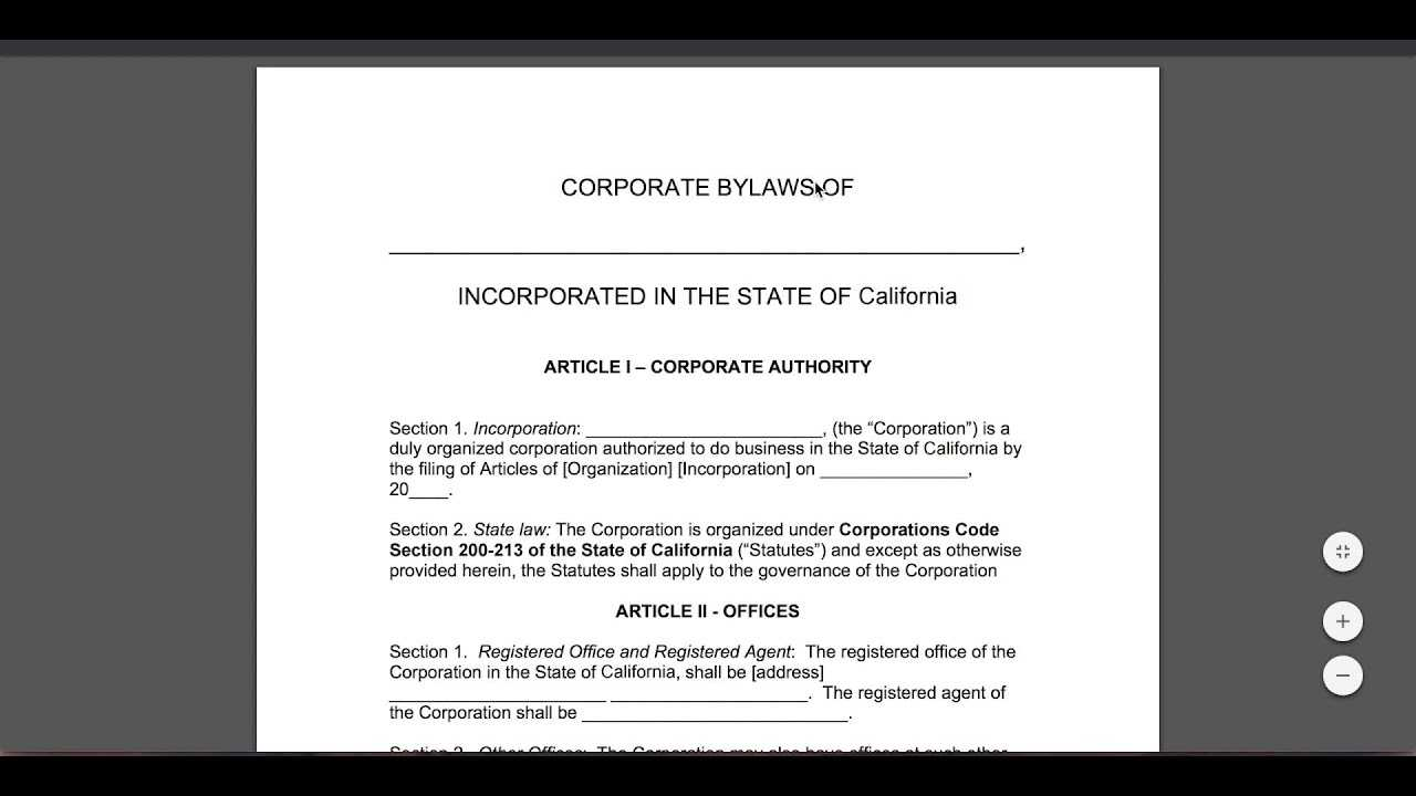 Free Corporate Bylaws Template   Pdf   Word Intended For Corporate Bylaws Template Word