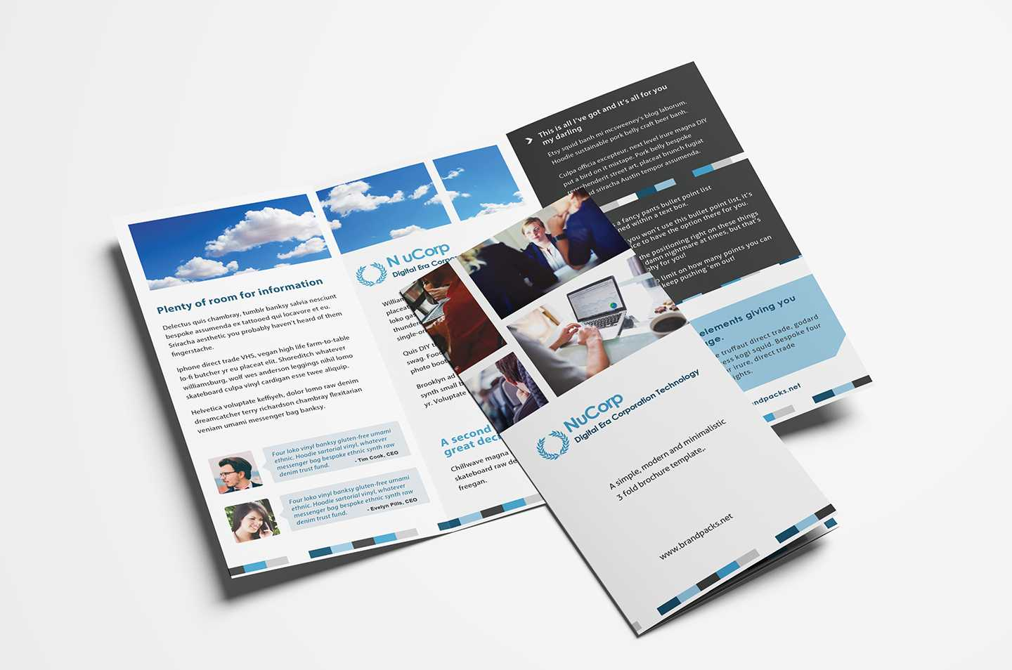 Free Corporate Trifold Brochure Template In Psd, Ai & Vector intended for 2 Fold Brochure Template Free