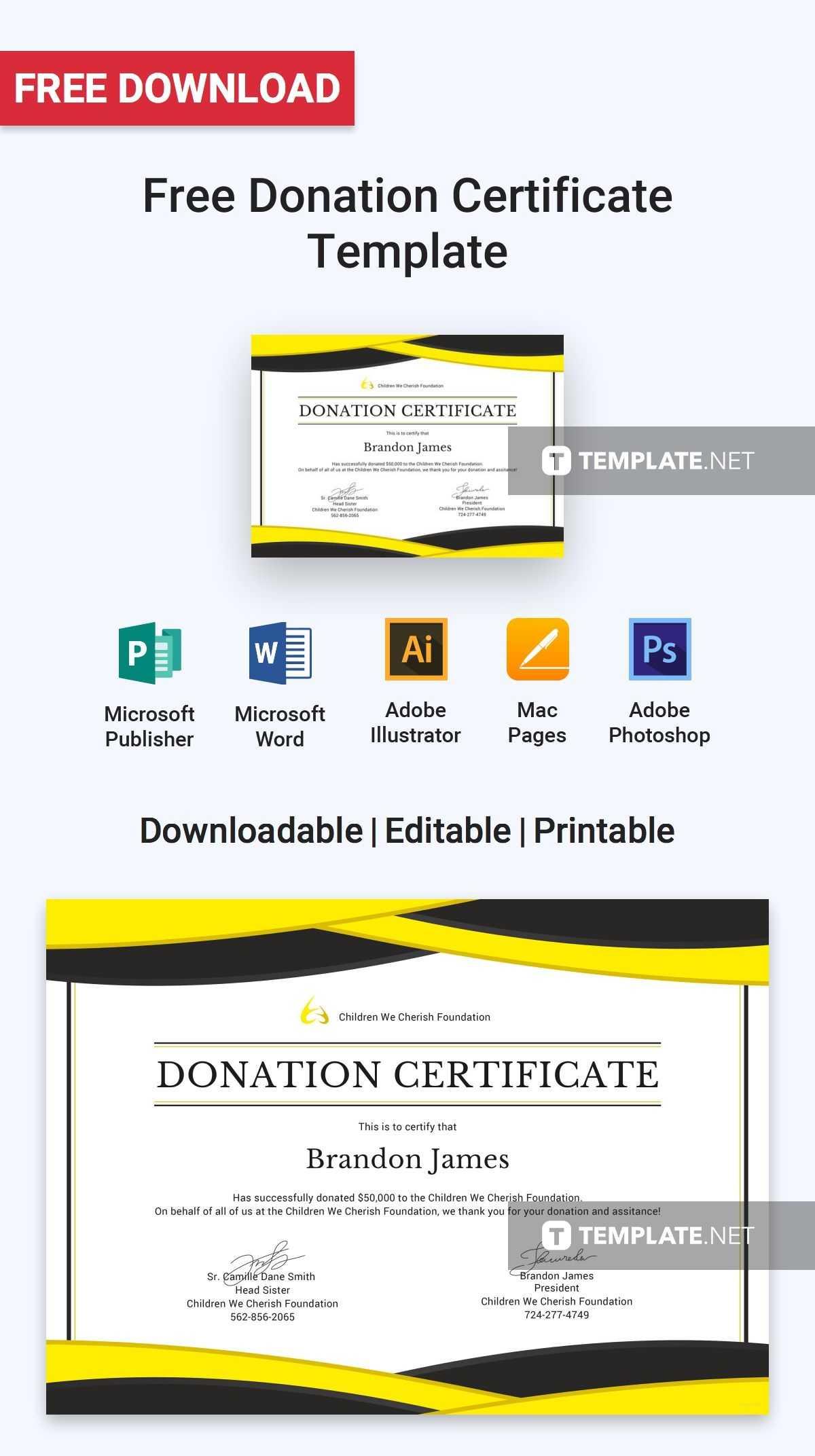Free Donation Certificate   Certificate Templates & Designs in Donation Certificate Template
