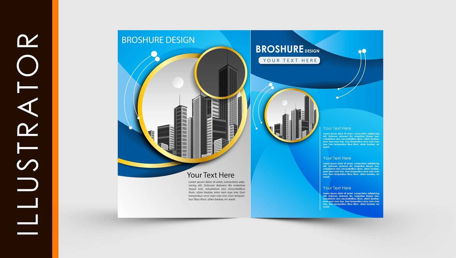 Free Download Adobe Illustrator Template Brochure Two Fold Within Brochure Template Illustrator Free Download