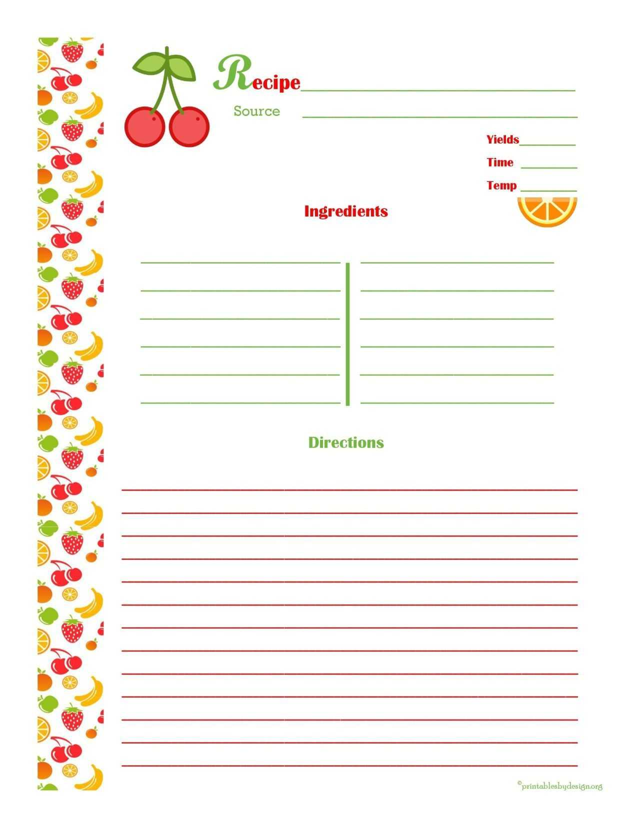 Free Editable Recipe Card Templates For Microsoft Word With Regard To Microsoft Word Recipe Card Template