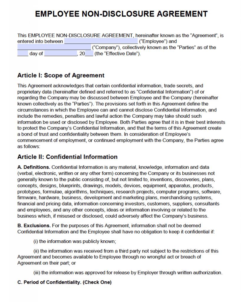 Free Employee Non Disclosure Agreement (Nda) | Pdf | Word With Regard To Nda Template Word Document
