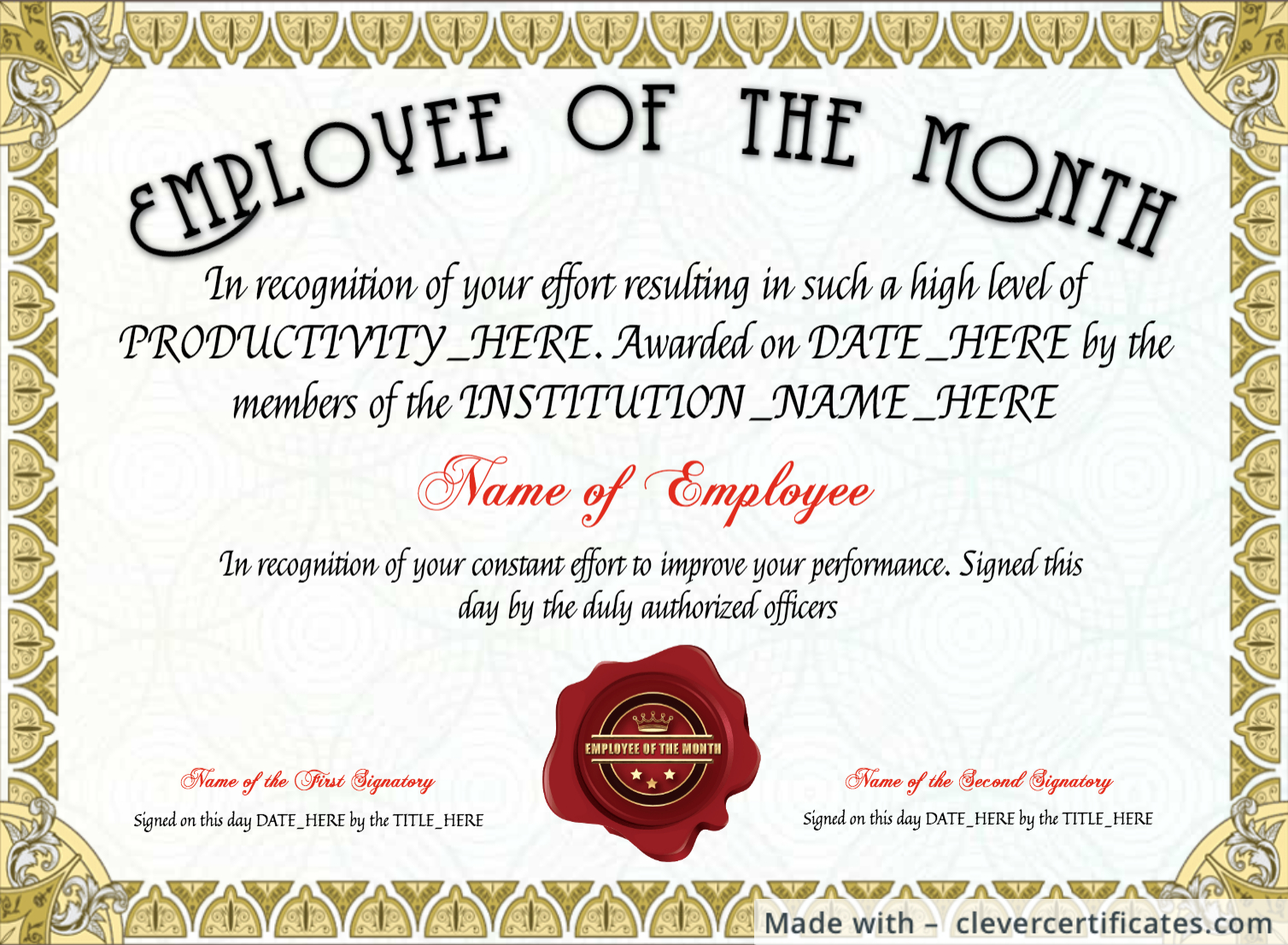 Free Employee Of The Month Certificate Template At with Employee Of The Month Certificate Templates