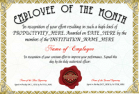 Free Employee Of The Month Certificate Template At within Player Of The Day Certificate Template