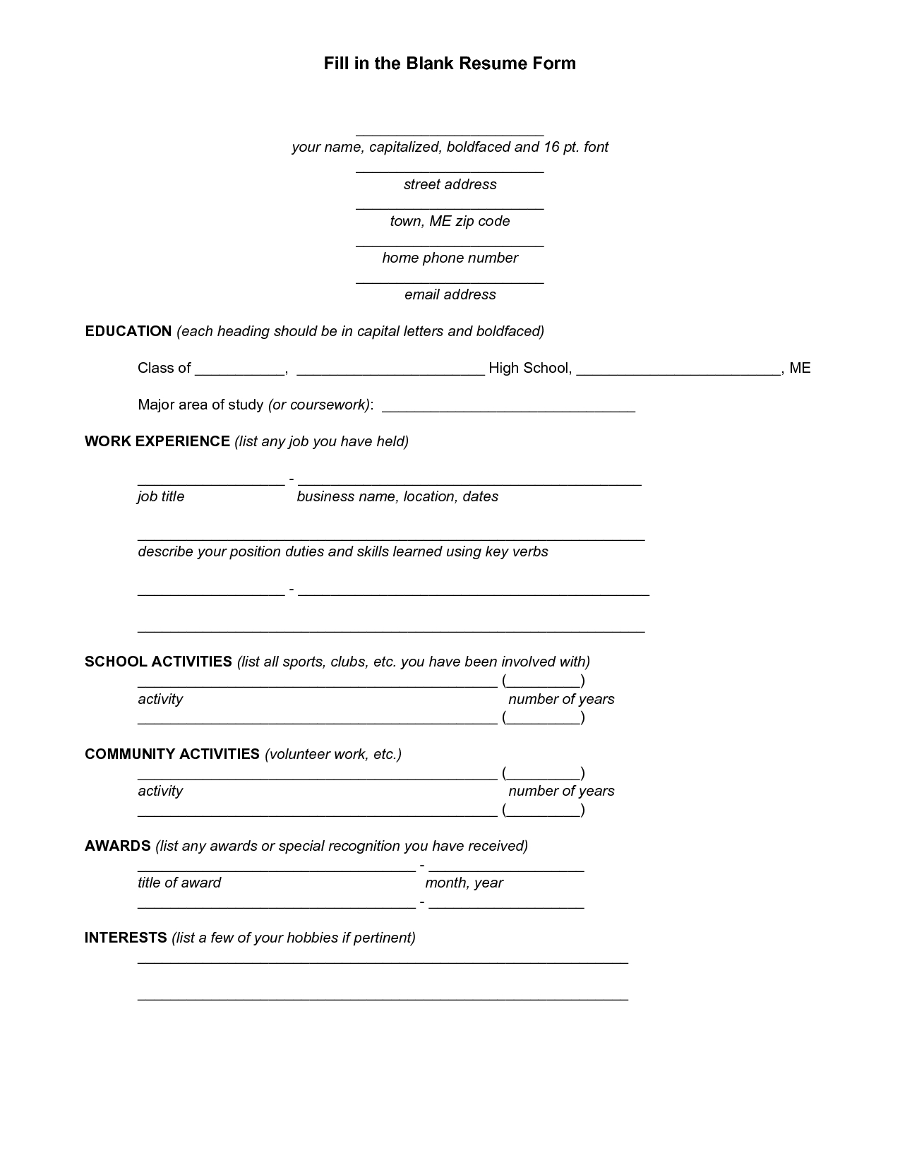 Free Fill In Resume - Magdalene-Project throughout Free Blank Cv Template Download