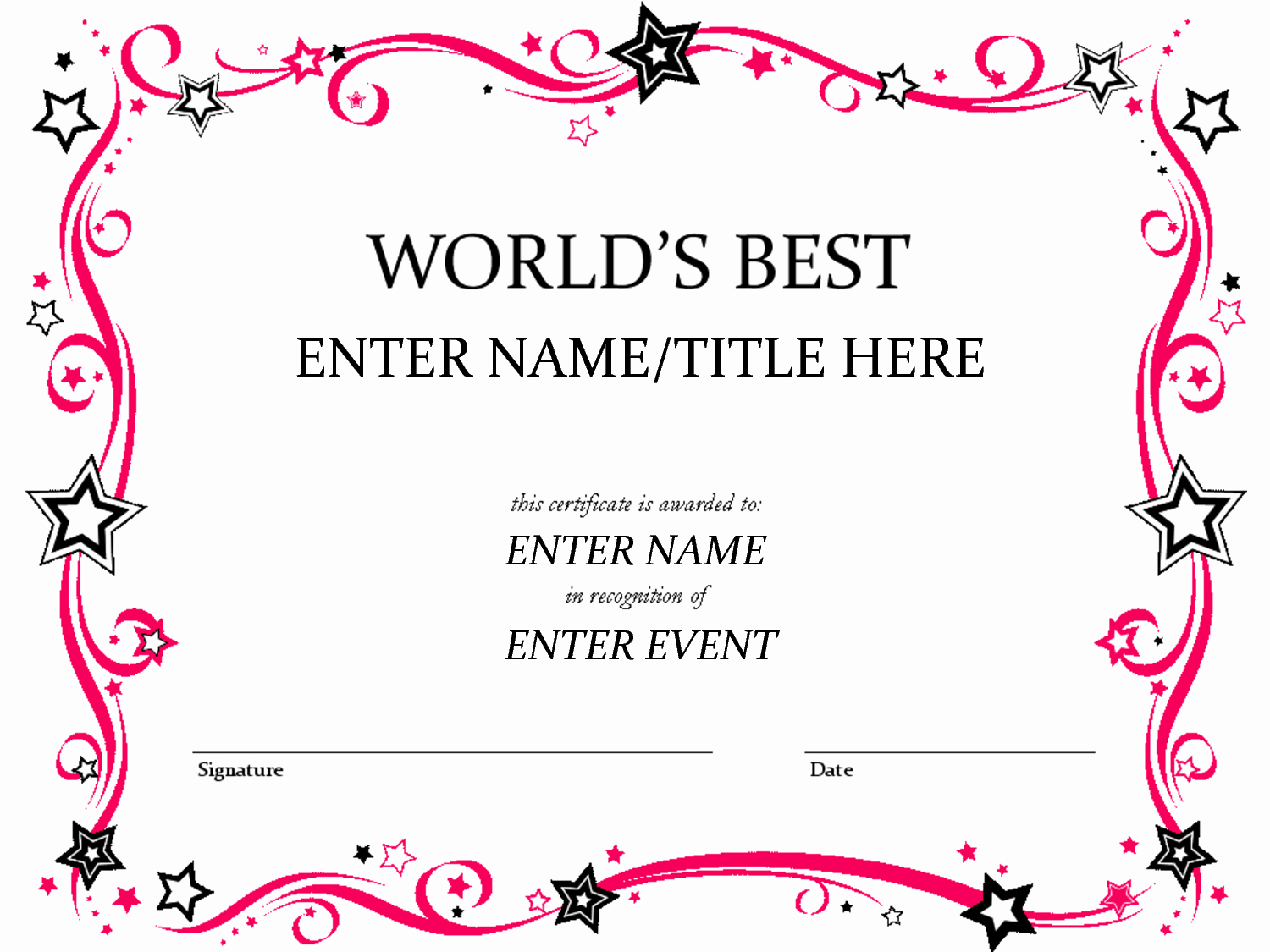 Free Funny Award Certificate Templates For Word In Free Funny Certificate Templates For Word