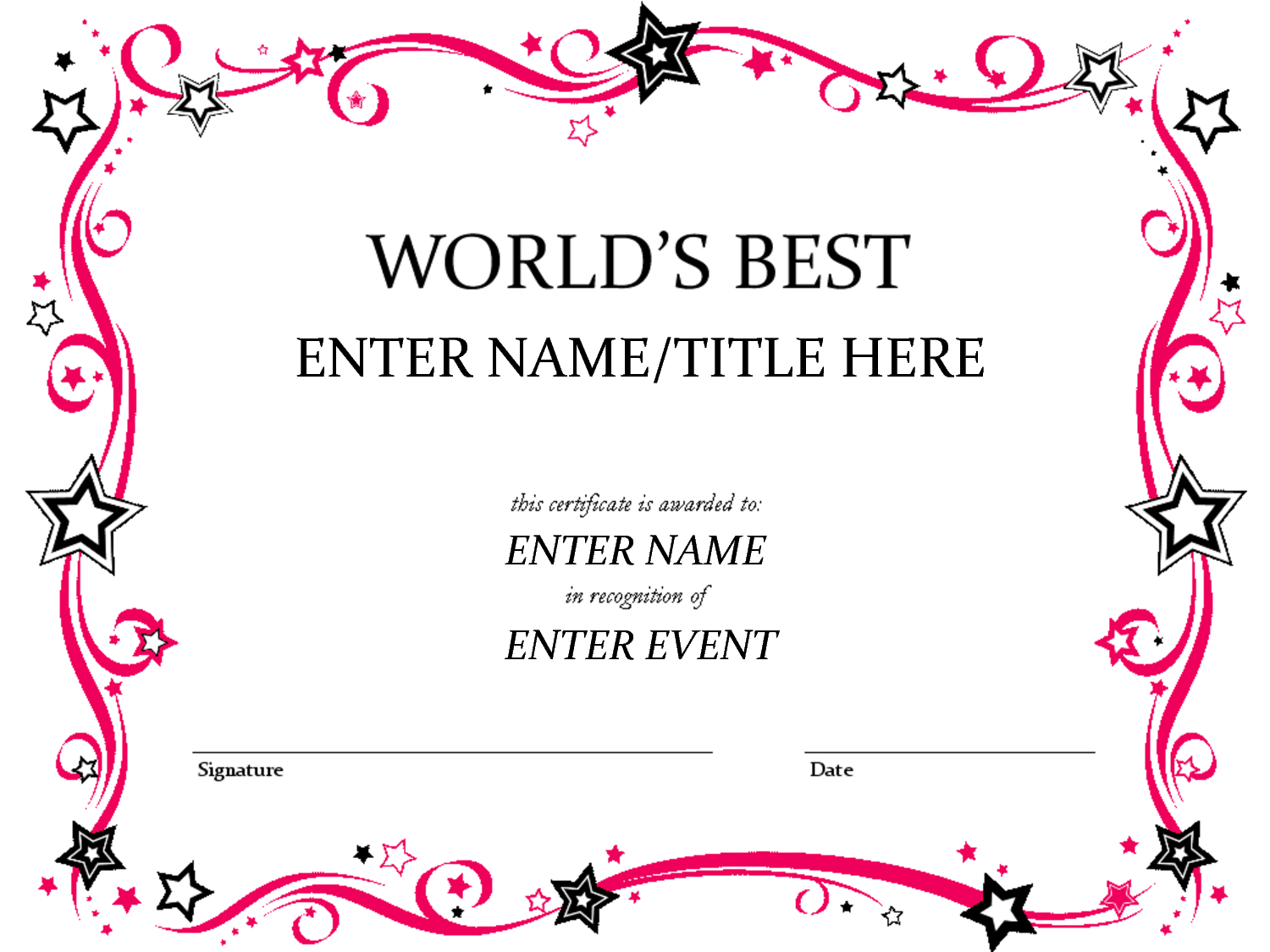 Free Funny Award Certificates Templates | Worlds Best Custom For Free Printable Funny Certificate Templates