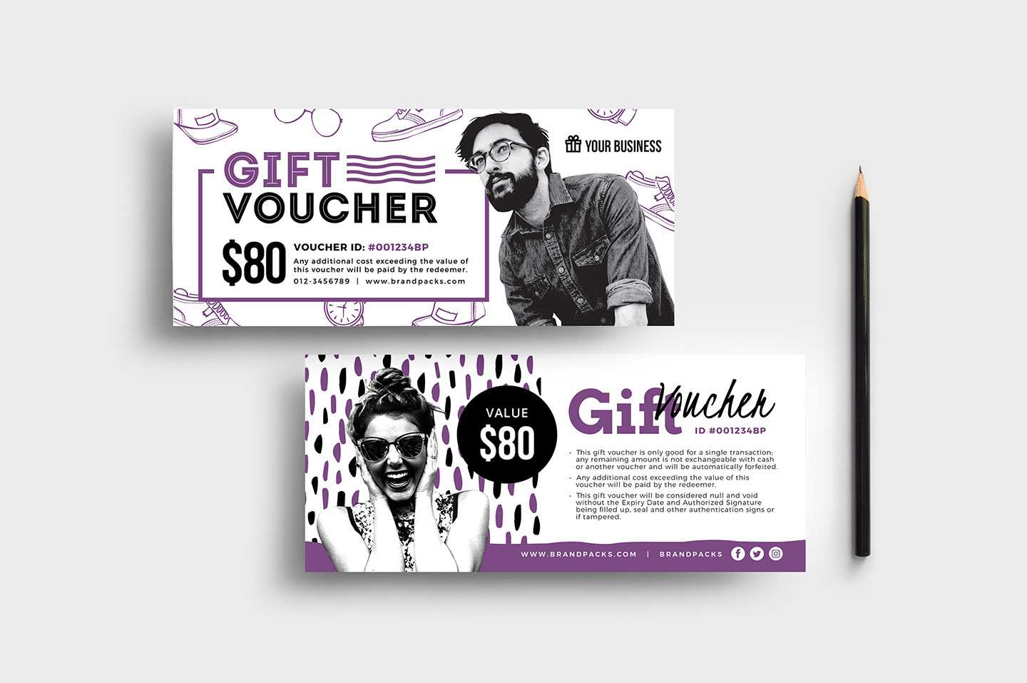 Free Gift Voucher Templates (Psd & Ai) - Brandpacks pertaining to Gift Card Template Illustrator