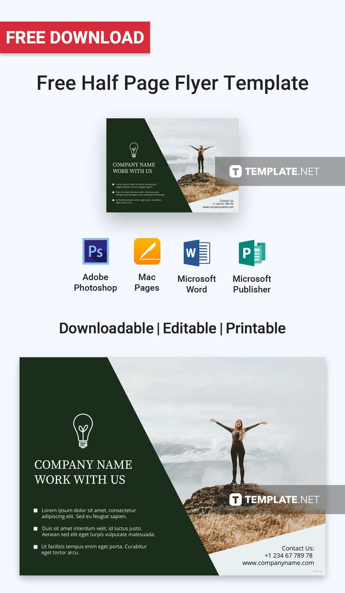 Free Half Page Flyer | Flyer Template, Flyer Layout, Templates for Half Page Brochure Template