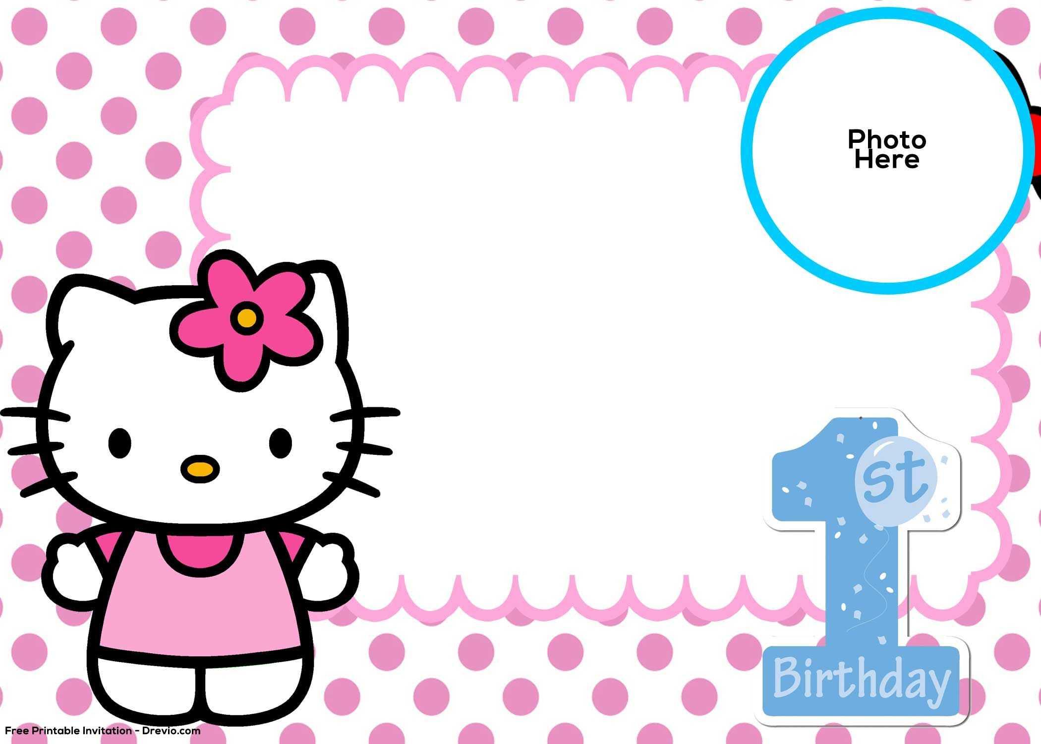 Free Hello Kitty 1St Birthday Invitation Template | Hello regarding Hello Kitty Banner Template