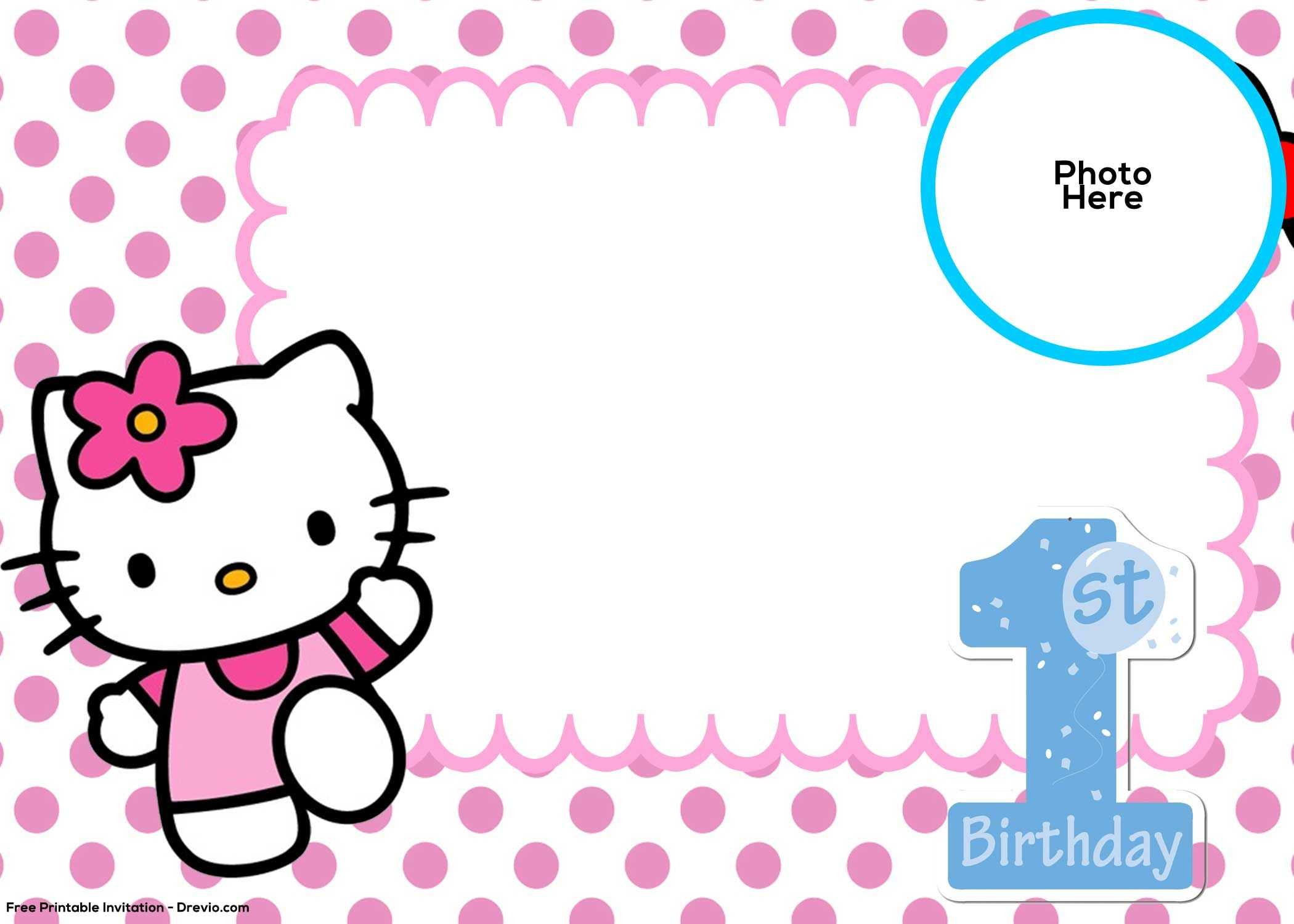 Free Hello Kitty 1St Birthday Invitation Template | Hello With Hello Kitty Birthday Banner Template Free