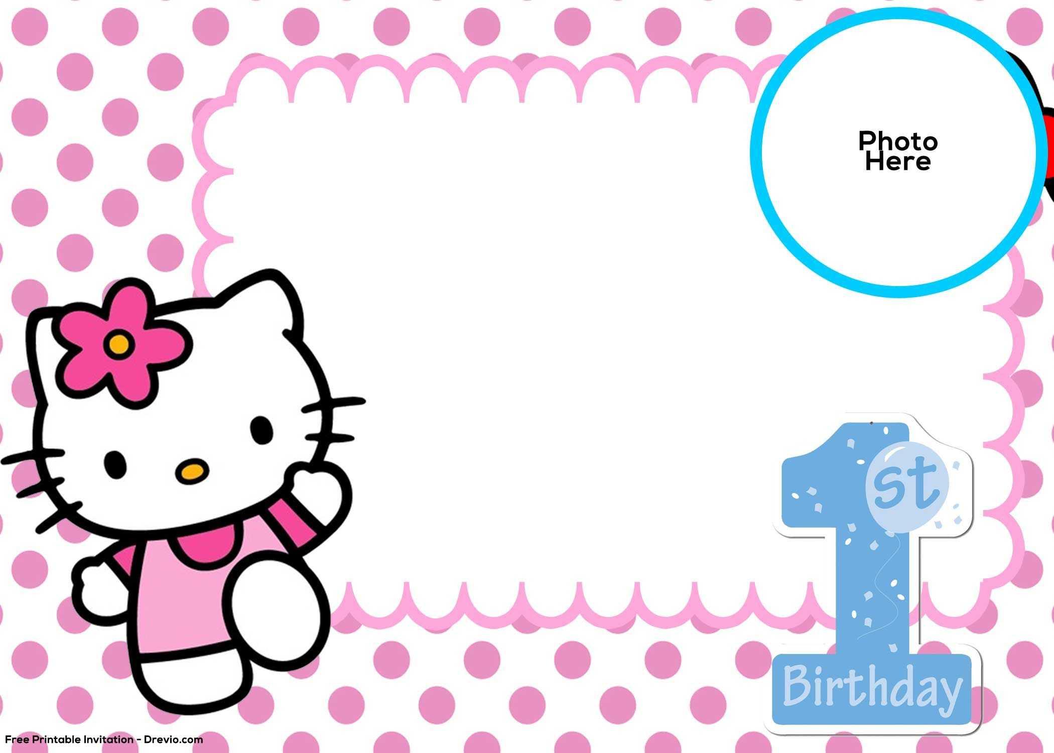 Free Hello Kitty 1St Birthday Invitation Template | Hello within Hello Kitty Banner Template