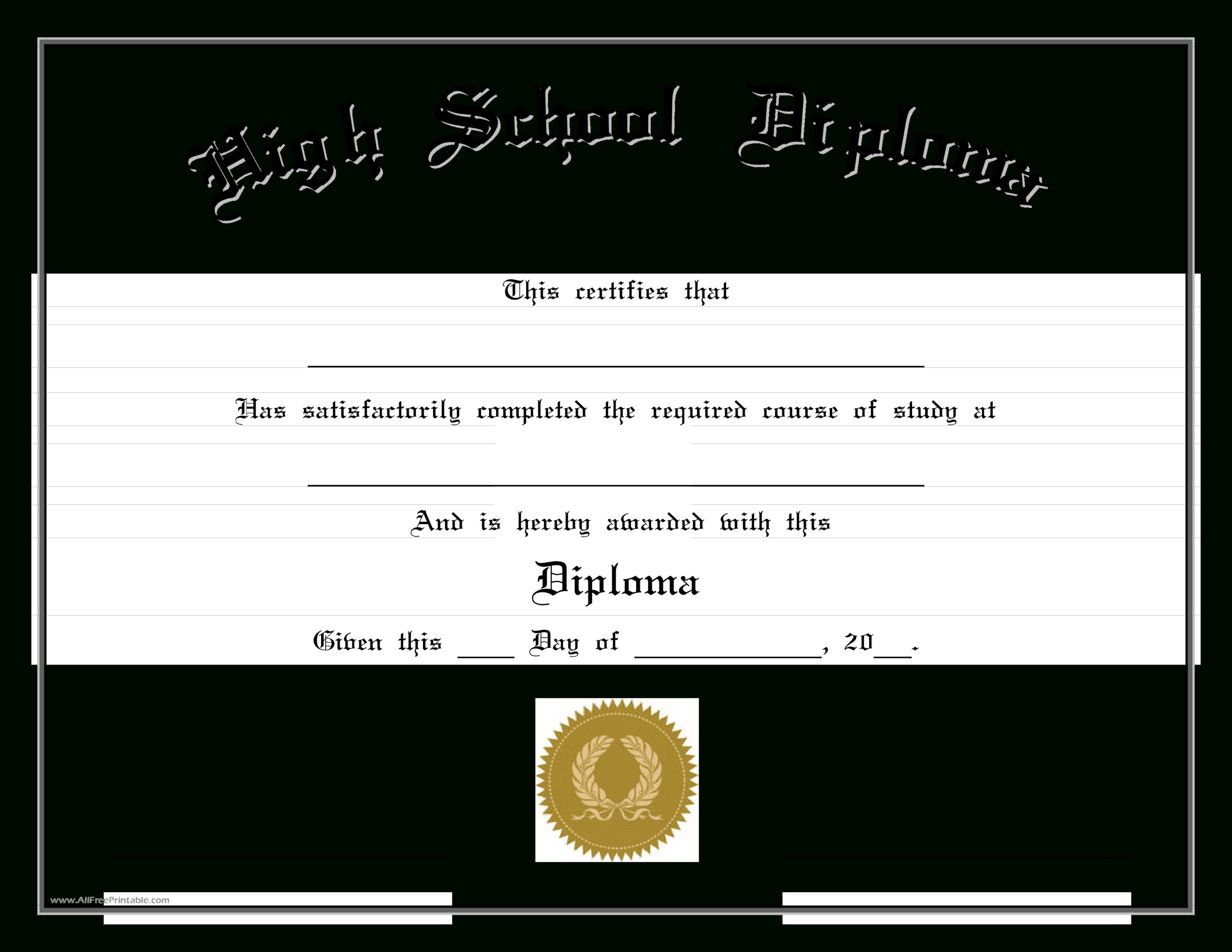 Free High School Diploma Templates Edit Cert Highs 2Pdf Easy for Free Printable Graduation Certificate Templates