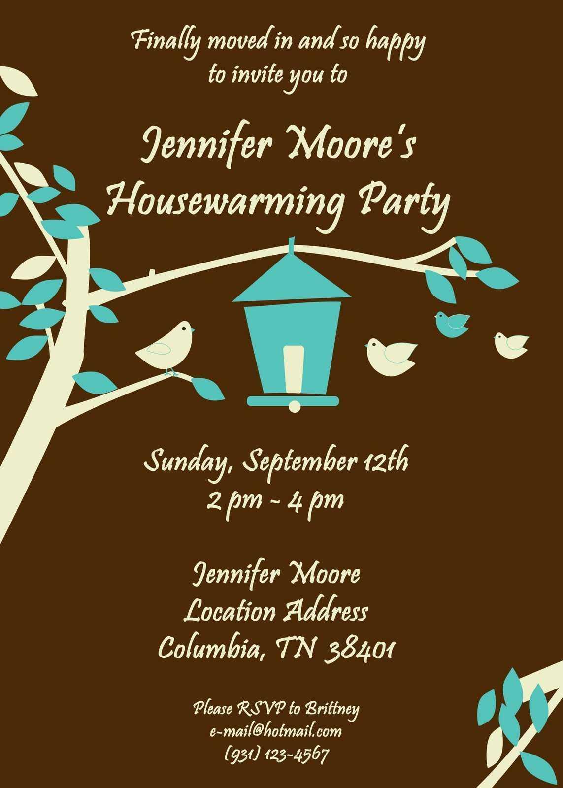 Free Housewarming Invitations Ideas | Little Bird Brown In Free Housewarming Invitation Card Template