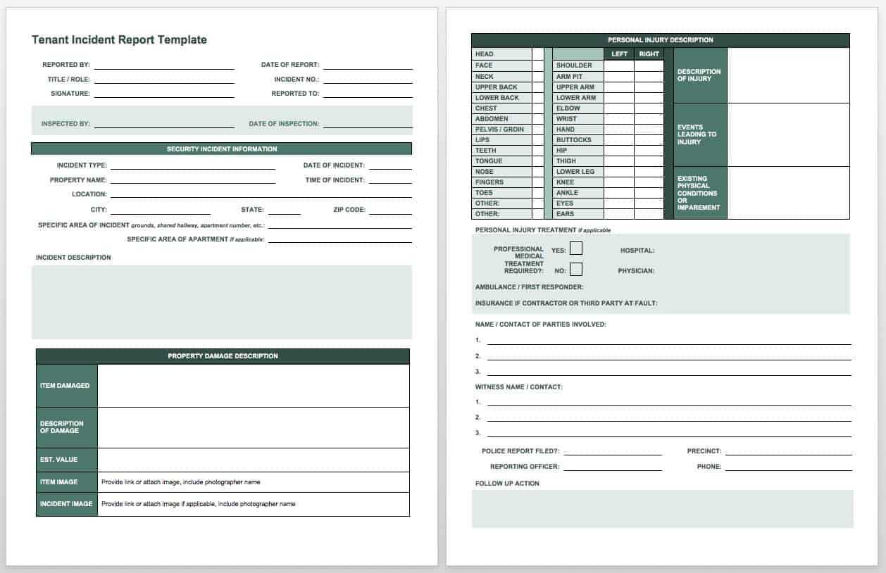 Free Incident Report Templates & Forms | Smartsheet within Incident Report Template Microsoft