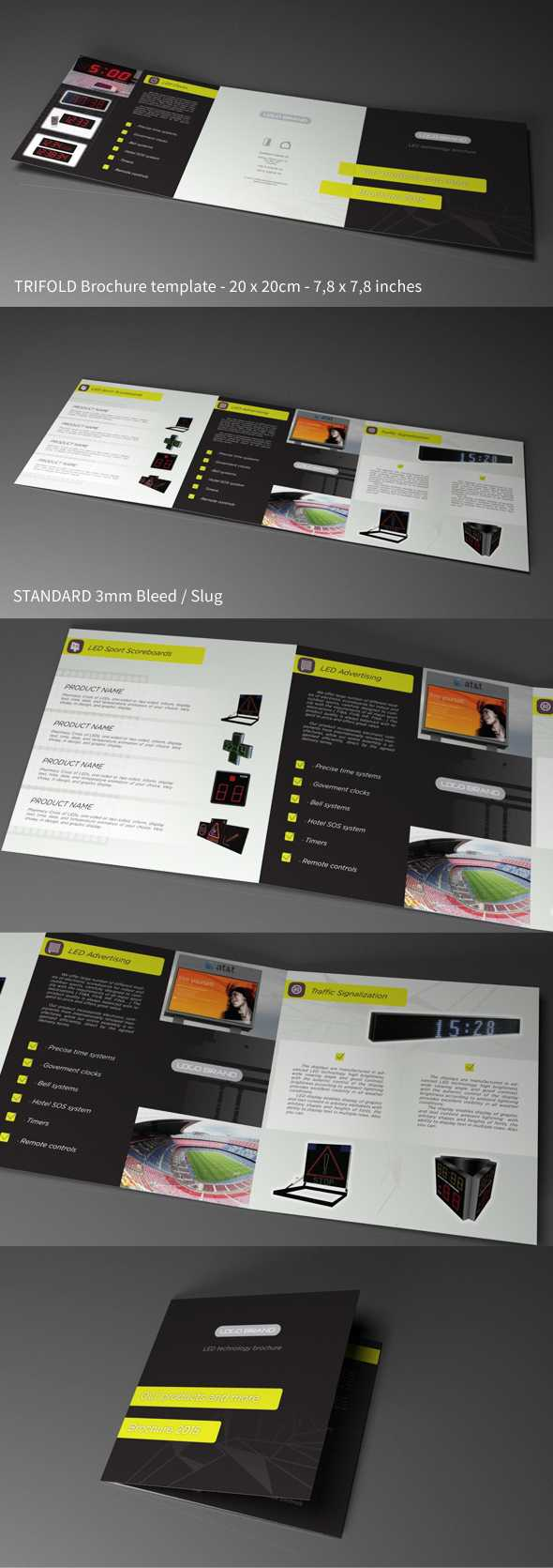 Free Indesign Template - Trifold Square Led Tech On Behance within Tri Fold Brochure Template Indesign Free Download