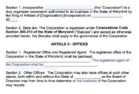Free Maryland Corporate Bylaws Template   Pdf   Word   within Corporate Bylaws Template Word