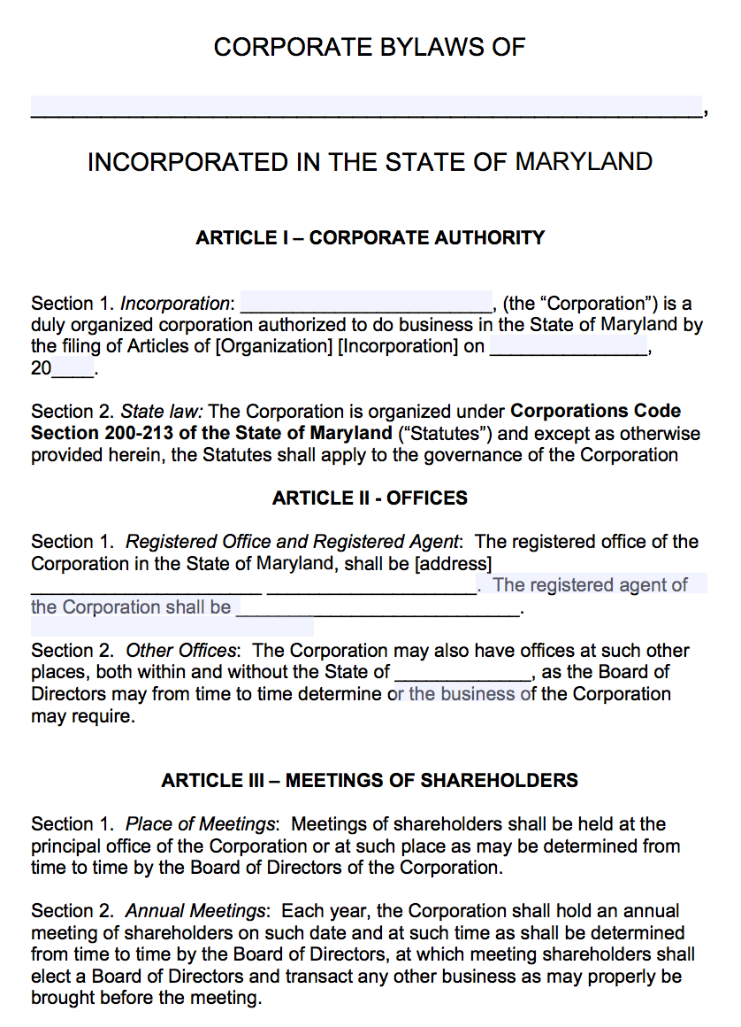 Free Maryland Corporate Bylaws Template | Pdf | Word | within Corporate Bylaws Template Word