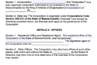 Free Massachusetts Corporate Bylaws Template   Pdf   Word   intended for Corporate Bylaws Template Word