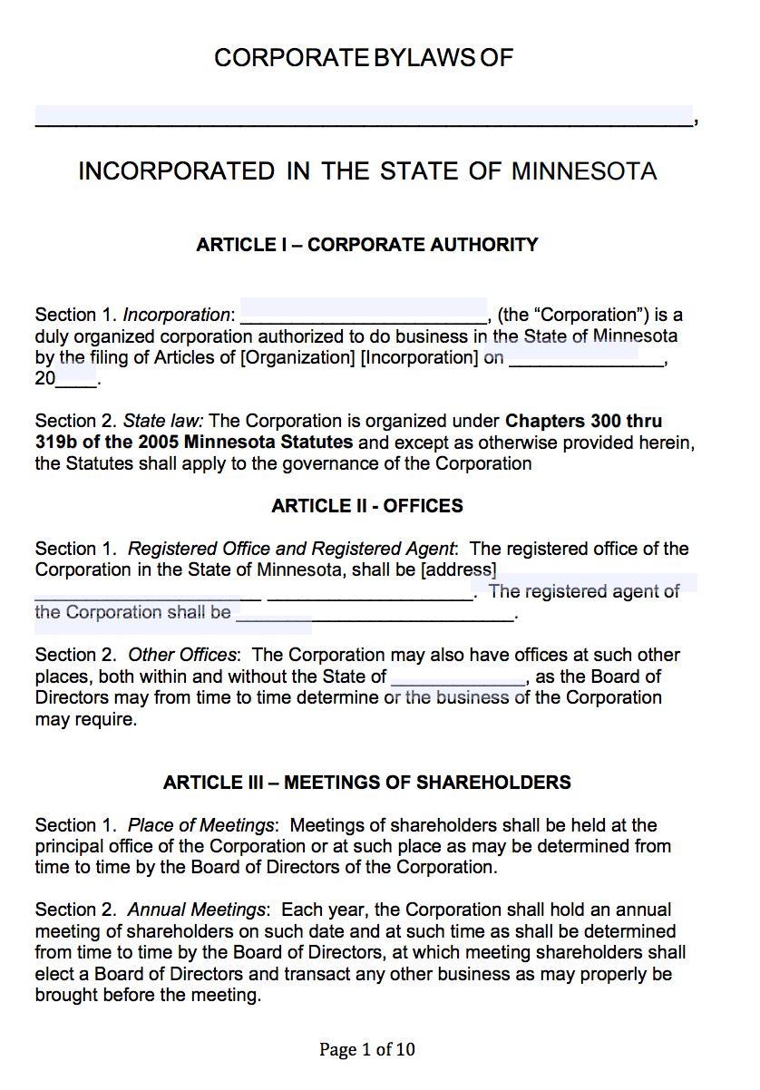 Free Minnesota Corporate Bylaws Template   Pdf   Word   With Regard To Corporate Bylaws Template Word