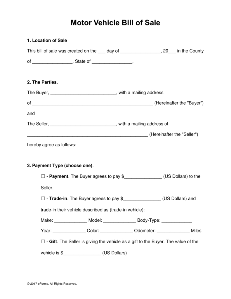 Free Motor Vehicle (Dmv) Bill Of Sale Form - Word | Pdf For Car Bill Of Sale Word Template