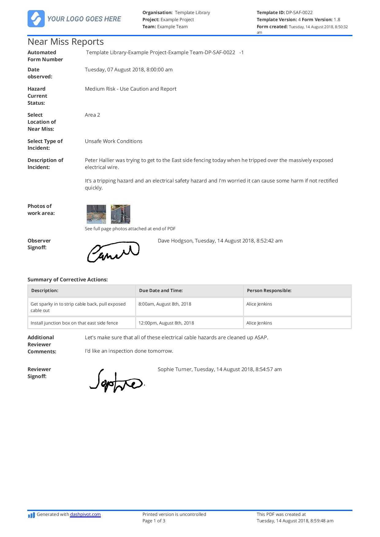 Free Near Miss Reporting Template (Easily Customisable) with Incident Hazard Report Form Template