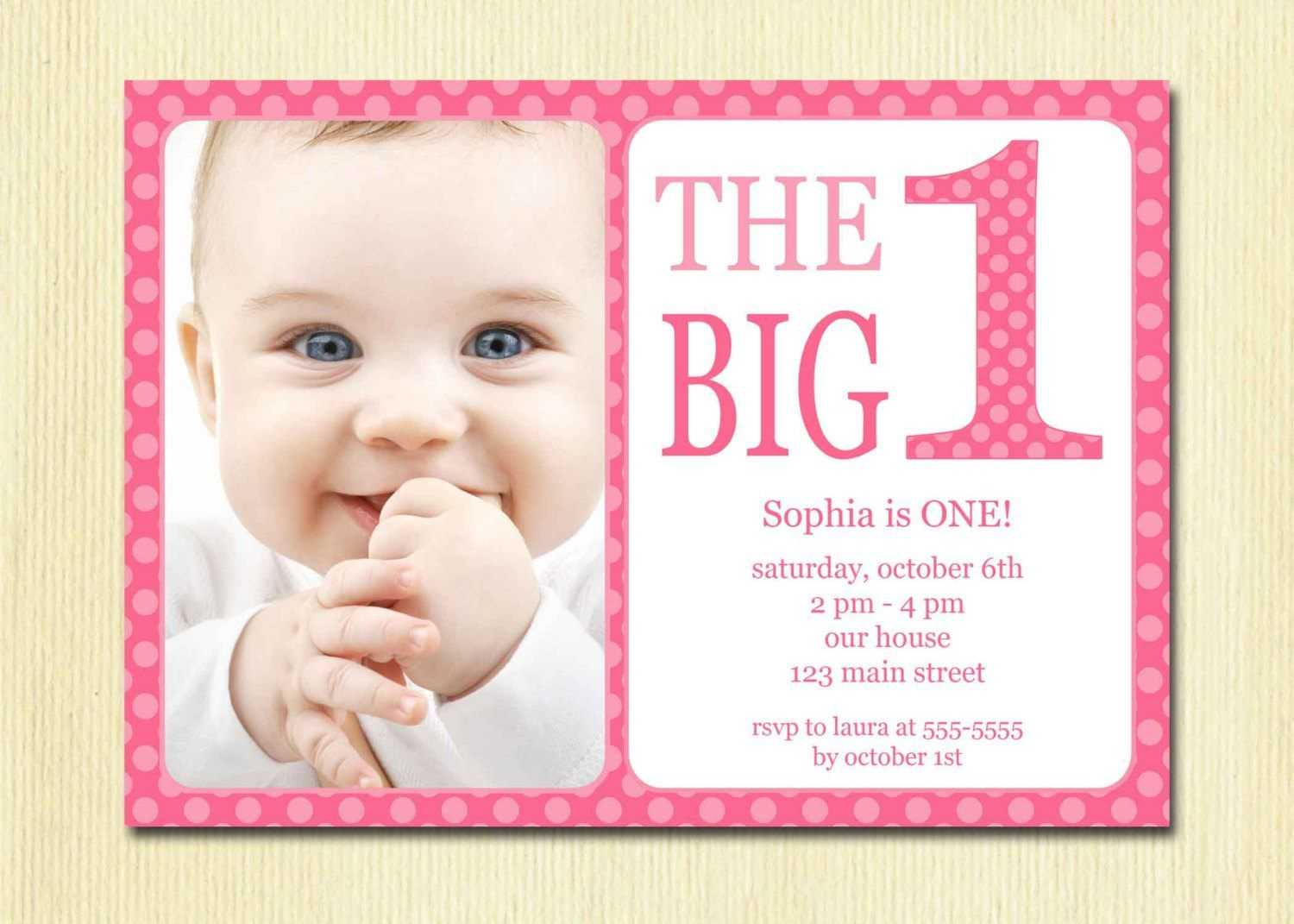 Free Printable 1St Birthday Invitation Template In 2019 Within First Birthday Invitation Card Template