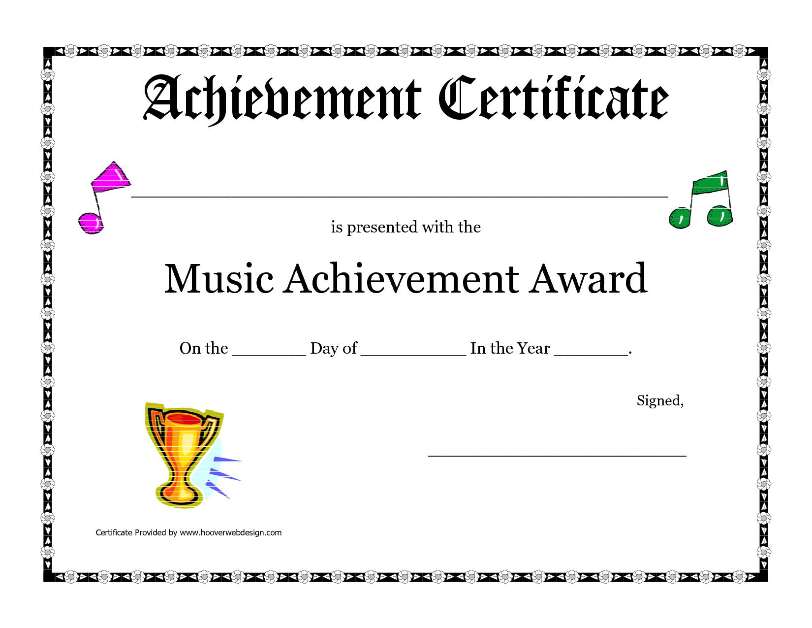 Free Printable Achievement Award Certificate Template within Choir Certificate Template