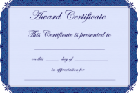 Free Printable Award Certificate Borders    Award for Blank Award Certificate Templates Word