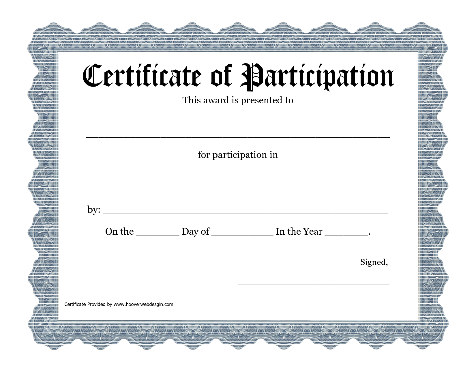 Free Printable Award Certificate Template - Bing Images With Certificate Of Participation Template Pdf