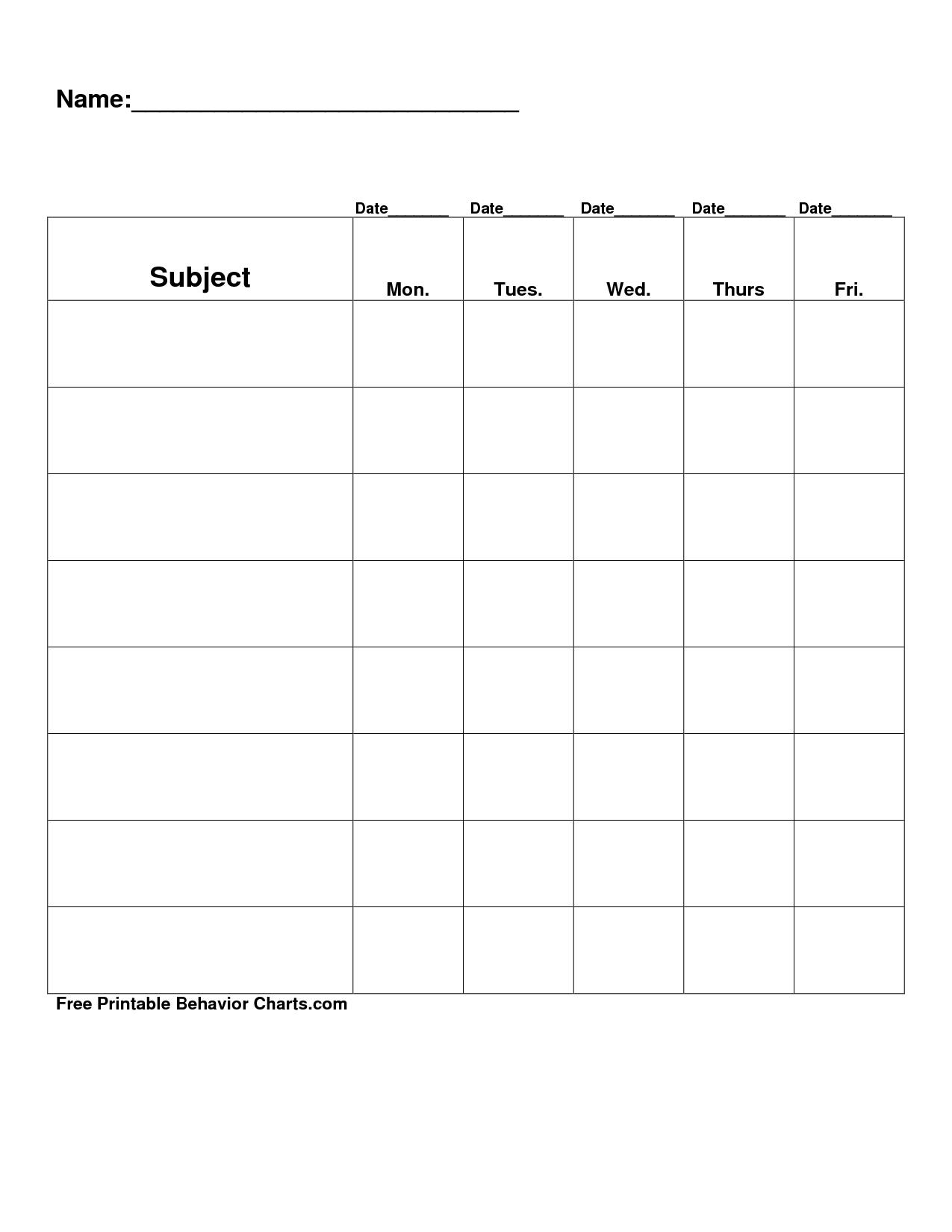 Free Printable Blank Charts | Free Printable Behavior Charts Pertaining To Blank Reward Chart Template